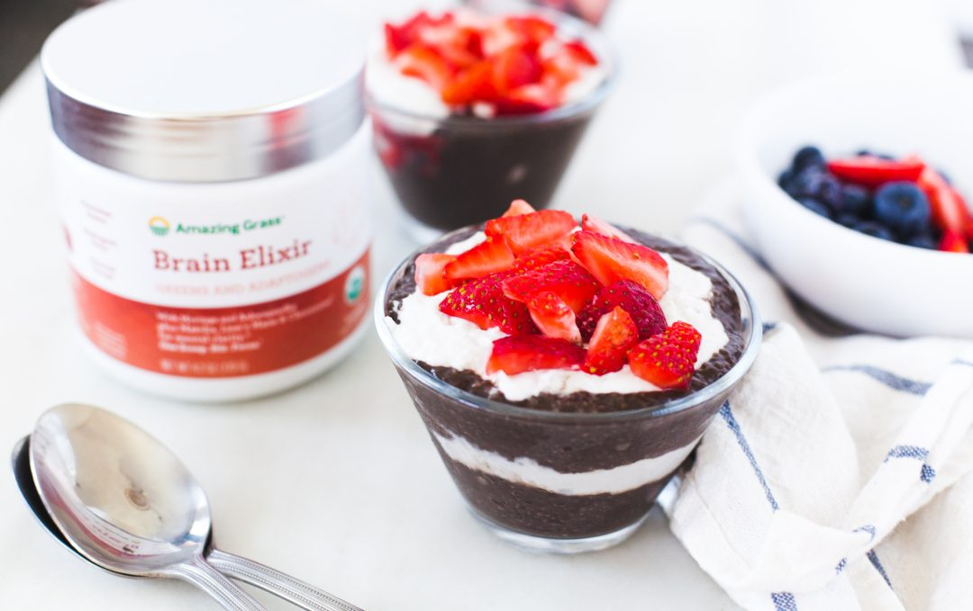 Chocolate Chia Seed Parfait with Greens & Adaptogens Recipe