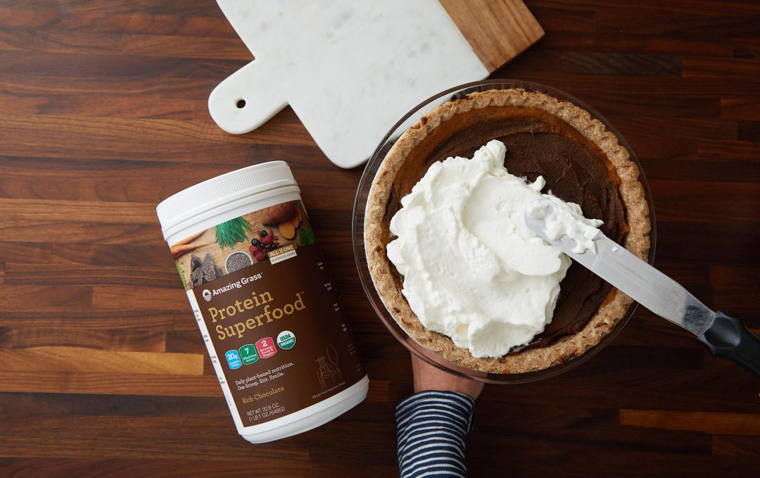 Chocolate Protein-Packed Pumpkin Pie Recipe by Julie Morris