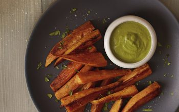 Baked Sweet Potato Fries with Creamy Macadamia-Chimichurri Sauce Recipe
