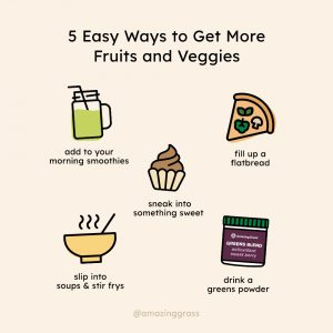 5 easy ways to get more greens, fruits and veggies into your diet